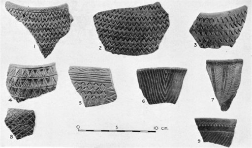 Abu Geili: pottery: 1–3 and 5 stylus-stamped wavy lines. 4 and 6–9 comb-stamped decoration sometimes within incised lines. All are burnished black and brown sherds originally infilled with red pigment (from Crawford and Addison 1951: Plate XXXVIIIB).