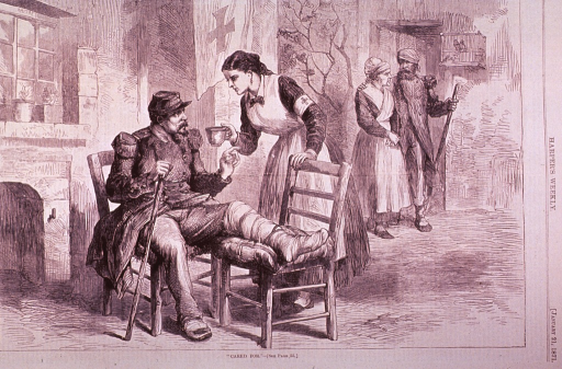 <p>A wounded soldier sits in a chair in a patio, resting his bandaged leg on another chair, as a Red Cross nurse hands him a small bowl. Another soldier, in the background, walks with the aid of a nurse.</p>