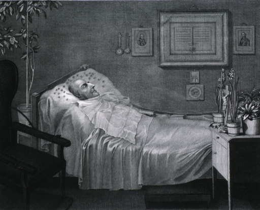 <p>Death-bed scene, showing interior view of room with considerable detail.</p>