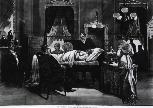 <p>The President's room [sickbed of Garfield after assassination - present are Mrs. Garfield, Dr. D.W. Bliss, at head of bed, Dr. Susan A. Edson and General Swaim, seated at foot, and unidentified aids].</p>
