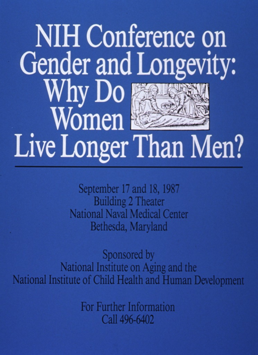 <p>Light blue poster with black and white lettering, announcing a conference in Sept. 1987.  Also lists dates, location, sponsors, and phone number for more information.  Top of poster features title and small reproduction of a woodcut showing two women preparing a man for burial.  Logistical information is in bottom half of poster.</p>