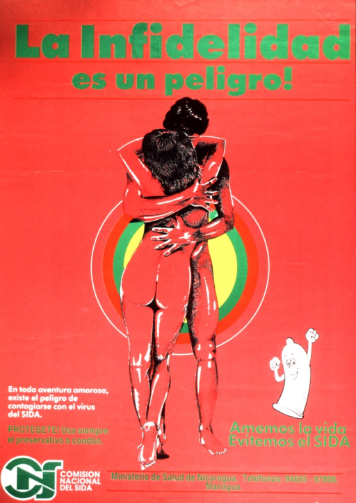 <p>A man and woman are embracing.  A smiling condom is in the lower corner with raised arms.  Below the condom is: Amemos la vida.  Evitemos el SIDA.</p>
