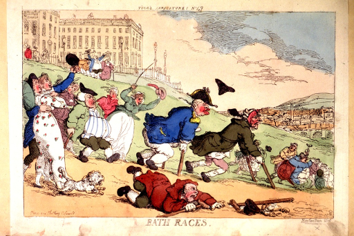 <p>A parade of well-dressed, gouty or otherwise ill people walk, run, or stumble down the hill in front of the Royal Crescent in Bath.  Some walk with the aid of crutches or are pushed in wheelchairs.  A small dog races down the hill in the foreground.</p>