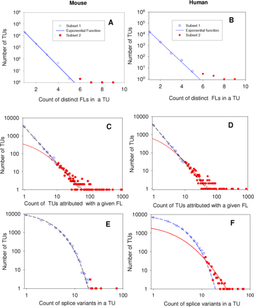 Best-fit statistics of three transcript-protein relation functions in the mouse (left) and human (right) data sets. A and B: best-fit frequency distributions of the number of FLs in a given TU; C and D: best-fit frequency distribution of the number of distinct TUs attributed with a given FL in a proteome subset related to selected TUs. E and F: the frequency distributions of the number of splice variant events per TU. The mixture probabilistic model (1) was used for identification of the empirical frequency distributions. Blue symbols: data used for parameterisation of the first model (P1); blue lines best-fit function P1. Read symbols: data used for parameterisation of the first model (P2); blue lines best-fit function P2. SigmaPlot analytical and graphical tools were used.