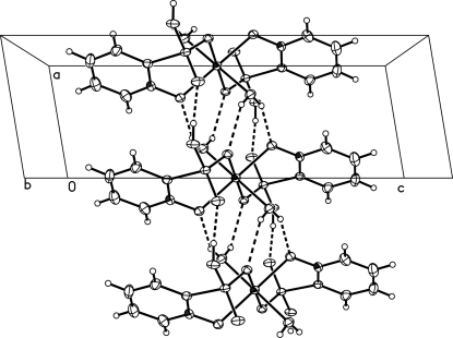 One-dimensional supramolecular chain structure with classic O—H···O hydrogen bonds shown with dashed lines, running along the a axis.