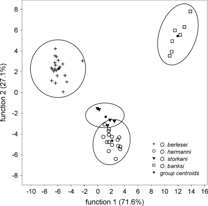 Canonical discriminant analysis of individual oil gland secretion profiles of 48 individuals of the four Oribotritia species. Four chemical groups were verified, each corresponding to one species (see text for details)