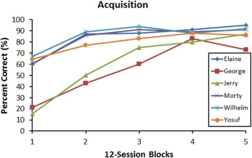 Acquisition curves showing mean discrimination accuracy during training as a function of 12-session block. Each line depicts an individual bird.