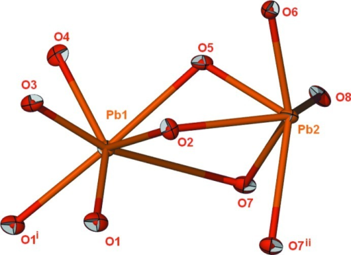 Geometry of PbII in the two independent molecules.