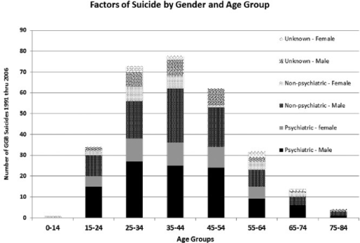 Influencing factors of suicide by sex and age group 1991–2006.