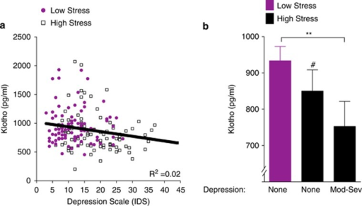 Lower klotho levels are associated with clinically significant depressive symptoms in chronically high-stress women. (a) In all women assessed (n=178), serum klotho levels decreased as a function of higher depressive symptom score (Inventory of Depressive Symptomatology (IDS); r=−0.20, P=0.007), an association that remained significant after adjusting for age and body mass index (BMI; B=−0.17, P=0.026; ΔR2=0.02) (b). Women under high chronic stress and experiencing moderate to severe depression (Inventory of Depressive Symptomatology (IDS) ⩾26, n=19) had significantly lower levels of klotho compared with women under low stress without depression (IDS 0–12, n=57; F(2,99)=4.26, P=0.017; pairwise comparison, **P=0.008). In women without depression, post hoc comparisons also indicated a trend for lower klotho levels in high-stress women (n=26) compared with low-stress women (#P=0.079). Analyses were carried out on log10-transformed klotho values. Data are means±s.e.m.