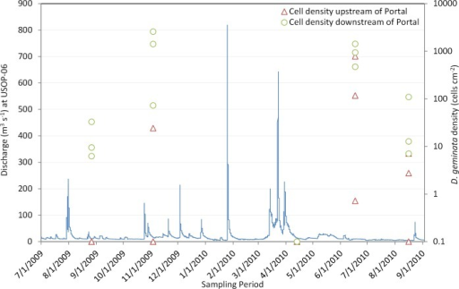 Continuous (15-minute) discharge at USOP-06 and cell density of D. geminata from seasonal sites upstream of the Shandaken Portal (red triangles) and downstream of the Shandaken Portal (green circles) during the five surveys conducted between 8/1/2009 and 9/1/2010 [all zero values (no detection) were replaced with 0.1 to facilitate plotting in log space].