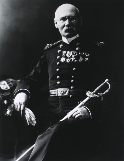 <p>Three-quarter length, seated, full face; wearing full dress uniform with several medals; holding gloves and sword.</p>