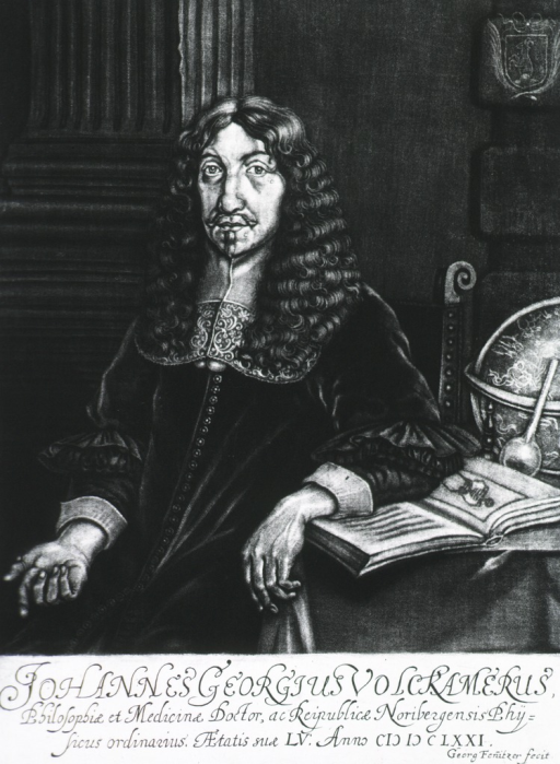 <p>Seated at table, with globe and open book.</p>
