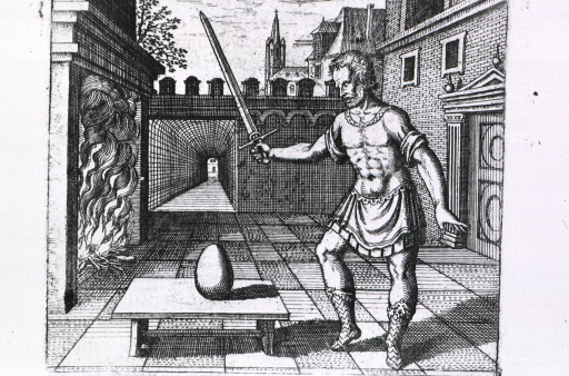 <p>A man holding a (healing?) sword is standing in a courtyard; on a table before him is an egg, or the philosophers' stone; to the left is a large fireplace with fire.</p>
