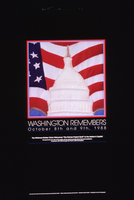 <p>Predominantly black poster with black and white lettering.  Visual image is a color photo reproduction of what appears to be a quilt square.  The square features the Capitol set against an American flag.  Title below image.  Caption below title.  The background for the poster features names, presumably of people memorialized on the quilt.</p>