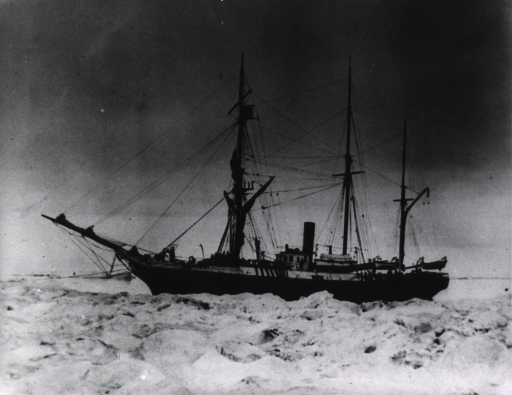 <p>Left profile view of the ship with ice flow in the foreground.</p>