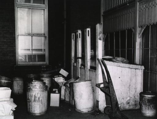 <p>Exterior view: Trash cans on back platform of main building.</p>