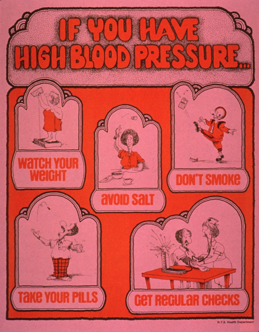 <p>Predominantly pink and orange poster with orange and brown lettering.  Title at top of poster.  Visual images are illustrations showing a woman weighing herself, a woman throwing a salt shaker away, a man in a football uniform drop-kicking a pack of cigarettes, a man taking a pill, and a man having his blood pressure checked.  One phrase of caption text below each illustration.  Publisher information in lower right corner.</p>