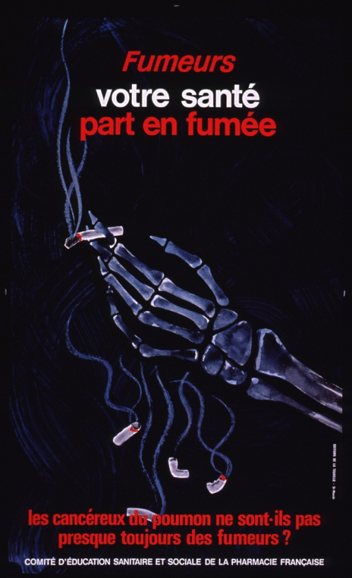 <p>Black poster with red and white print. The visual consists of the image of a skeletal human hand holding a lit cigarette. Blue smoke is curling up from the cigarette and several discarded cigarettes are falling to the ground.</p>
