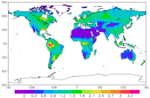 World distribution of coarse woody debris, in kgC m-2.