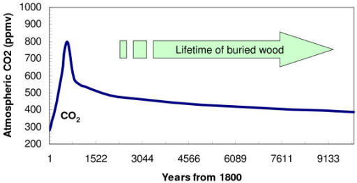 Lifetime of buried wood can be substantially longer than fossil fuel CO2 residence time in the atmosphere. CO2 concentration is based on a scenario in which 1000 GtC fossil fuel is burned in the next few hundred years.