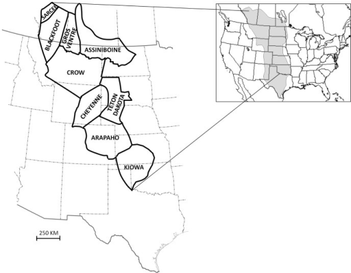 Schematic geographic distributions (after DeMallie (2001)) of the tribal groups considered here, circa mid-late 19th century.Shaded area on inset shows extent of Great Plains (both short-grass high plains and tall-grass prairie regions combined). Note: The Gros Ventre are also referred to as the Atsina.
