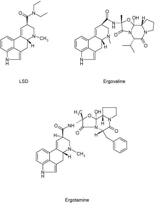 Structures of representative types of some major ergot alkaloids (EA).