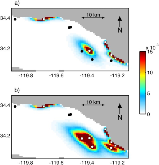 (a) PDDs averaged over 12 years for scenario 1. (b) PDDs averaged over 12 years for scenario 2.White circles and squares identify the platforms and harbors respectively that are source sites, where particles are released. Black circles identify the platforms that are used only as destination sites.