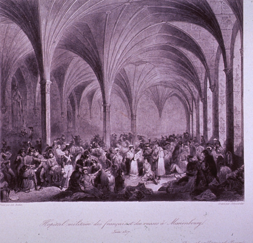 <p>Interior view of a chapel crowded with wounded soldiers.</p>