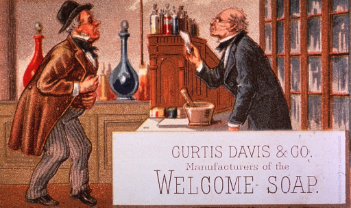 <p>Advertising card for Curtis Davis and Company's Welcome Soap.  Visual motif:  Interior view of a late 19th c. pharmacy, showing pharmacist and consumer.</p>