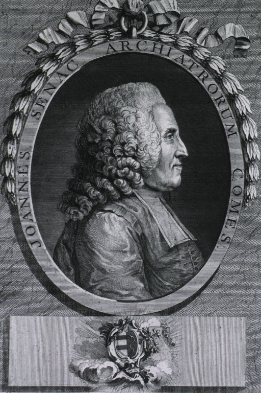 <p>Head and shoulders, right profile; in oval; coat-of-arms in rect. under portrait.</p>