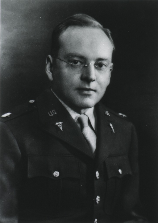 <p>Head and shoulders, right pose, full face; wearing uniform (Major, M.C.).</p>