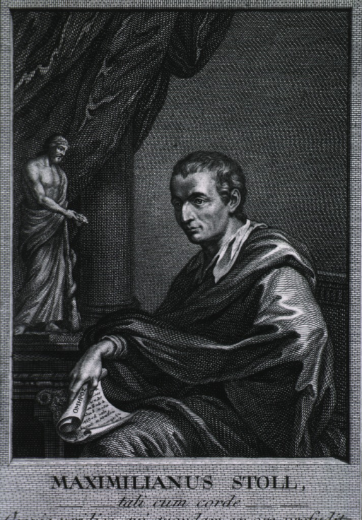 <p>Seated, left pose, holding scrolls.  Curtain and statue in background.</p>