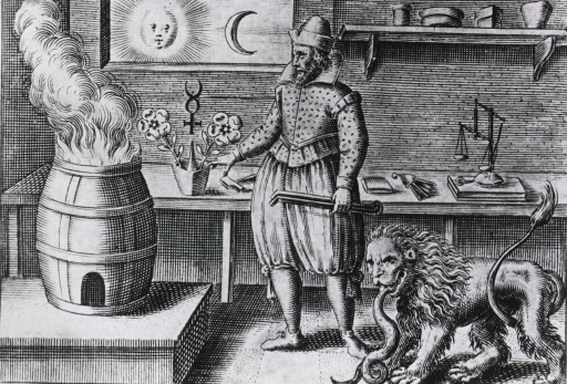 <p>Interior view of an alchemical workshop showing the alchemist and many symbols important to alchemy, such as the rising sun, the moon, a lion and a serpent, a scale, a square, plants, a cross/caduceus, and most importantly, fire.</p>