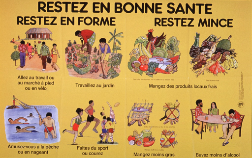 <p>Yellow poster with black lettering.  Title at top of poster.  Visual image consists of eight panels, each illustrating a healthy behavior or food group.  Fitness panels show people walking, working in the garden, swimming and fishing, and running and playing rugby.  Diet panels show fresh local foods, the contrast between fresh and grilled foods versus fatty alternatives, and the stupor caused by excessive alcohol.  Logo for publisher and list of sponsors on right side of poster.</p>