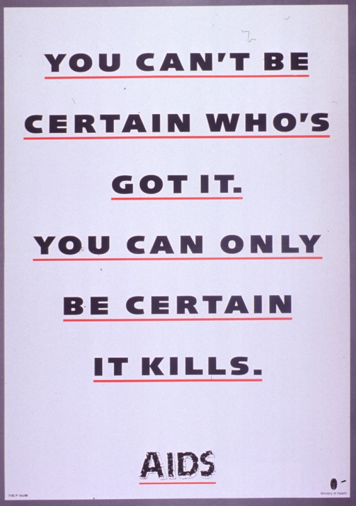 <p>Predominantly white poster with black lettering and gray and red highlights.  Poster is all text.  Title dominates poster.  Note appears near bottom.  Publisher information in lower right corner.</p>