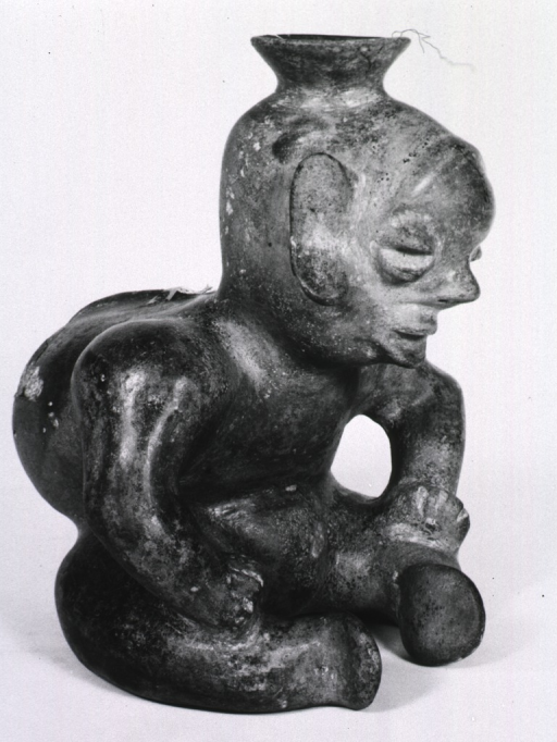 <p>Sculpture:  Urn figure of seated child exhibiting severe deformity of the spine.</p>