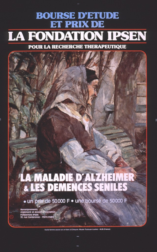 <p>Multicolor poster with light blue and white lettering.  Initial title phrase at top of postser.  VIsual image is a reproduction of a painting that features an elderly woman sitting on a bench in a wooded setting.  Remaining title phrase and publisher information superimposed on lower portion of painting.  Caption identifies the painting as part of the collection of the Toulouse-Lautrec Museum in Albi, France.</p>