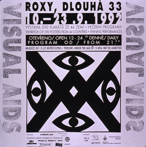 <p>Black and white poster with an abstract drawing in the center. The English title is printed along the left hand side of the poster and the Czech title is printed along the right hand side. Information about the exhibit is in both languages.</p>