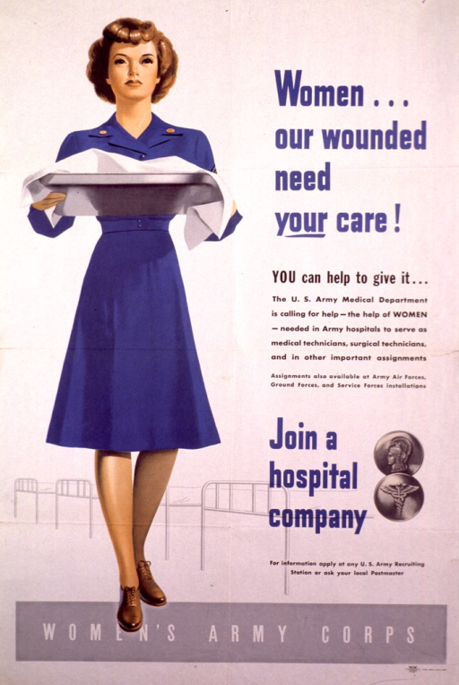 <p>Off-white poster with a woman in a blue nursing uniform carrying a tray.</p>