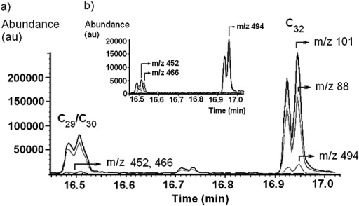 Extracted ion chromatograms (EICs) obtained following the thermochemolysis of 6.8 ng PDIMs standard for: (a) the fragment ions at m/z 88 and 101, and the molecular ions at m/z 452, 466 and 494; (b) Insert: EICs for the molecular ions at m/z 452 (C29), 466 (C30), and 494 (C32). Note: m/z 452 and 466 refer to both peaks in the overlapping doublets for the C29/C30 methyl mycocerosates.