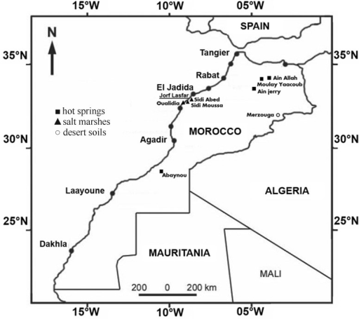 Location of the studied sites.