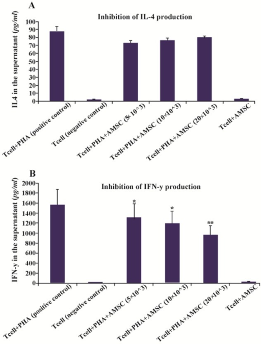 Cytokine levels in the supernatant of the co-culture medium of hAM-MSCs and Tcells in the presence or absence of PHA. A) Production of IL-4 and B) IFN-γ was detected using ELISA method. Each bar was compared with T cell+PHA (control T cells) group. Data were presented as the mean±SD of four independent experiments *p<0.05, ** p≤ 0.01.