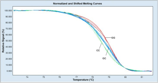 Melting profiles for the three genotypes from the normalized melting curves.