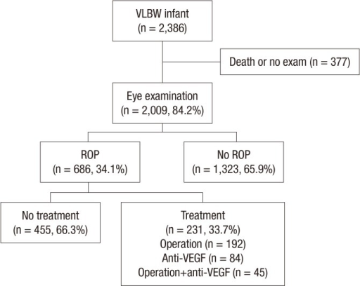 Schematic diagram of the enrolled patient in the study. ROP, retinopathy of prematurity; VLBW, very-low-birth-weight infant; VEGF, vascular endothelial growth factor.