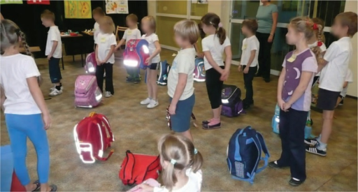 Examples of good positions for carrying a pupil's school bag.