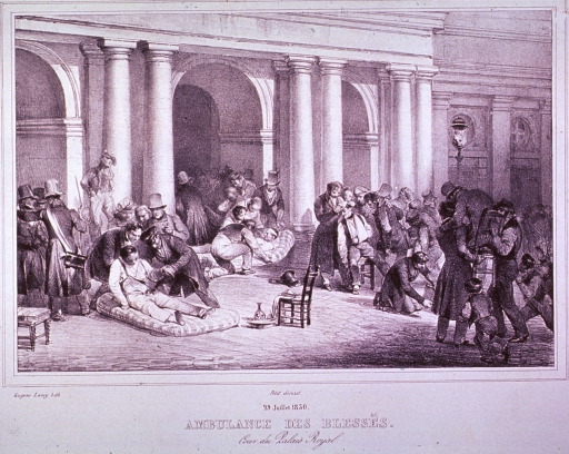 <p>Emergency treatment of the wounded during the July Revolution; showing people lying on mattress on the ground being attended to, and others being brought in on chairs.</p>