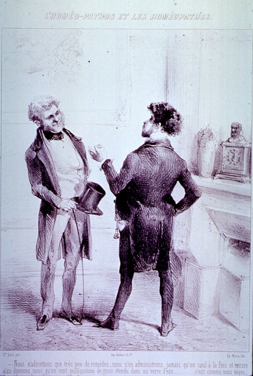 <p>Two men standing, in discussion; one holding top hat and cane.</p>