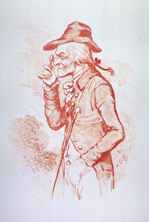 <p>Three-quarters length view of a man, left profile, holding up a lense to his eye.</p>