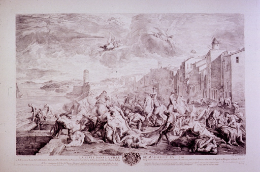 <p>Depicts a waterfront scene with victims, dead and dying, showing Mr. Roze, commander of the Order of St. Lazare, directing removal of infected corpses.</p>